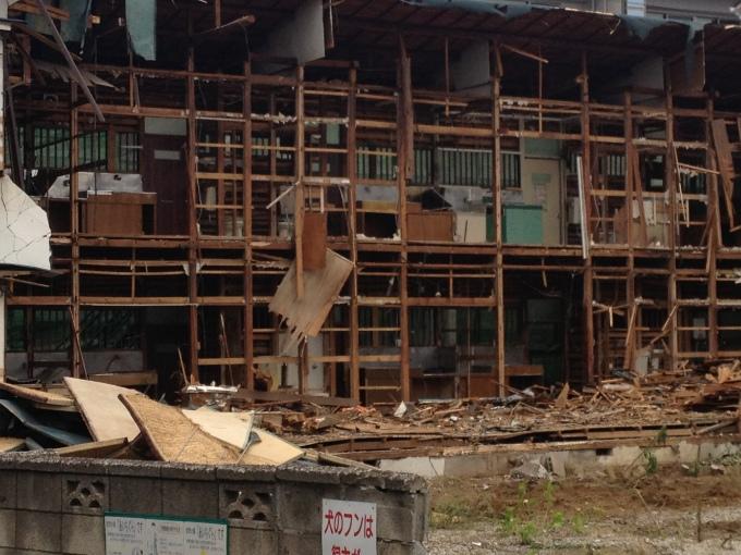 half-demolished house