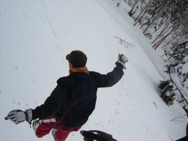 Jumping from the ski-lift